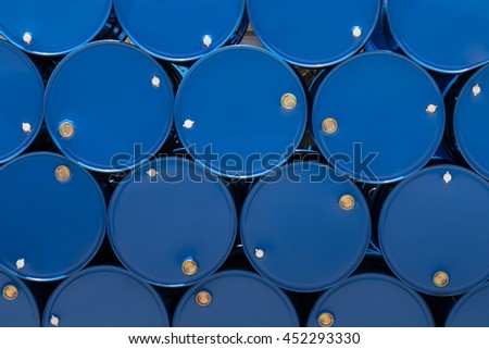 blue steel chemical tanks or oil tanks stacked in a row. background and texture #452293330