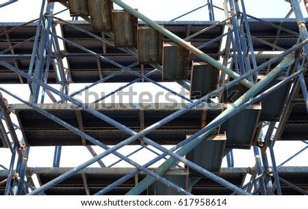 Blue steel construction ladder closeup #617958614
