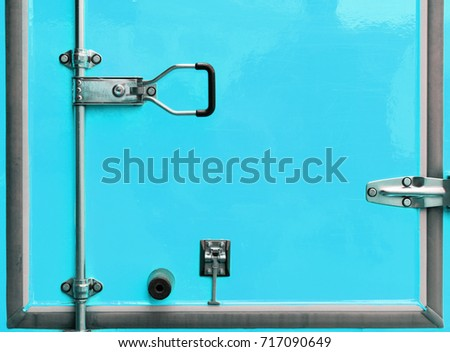 Blue steel door of car truck container #717090649