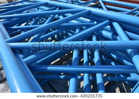 blue steel pipe build up to truss #420235735