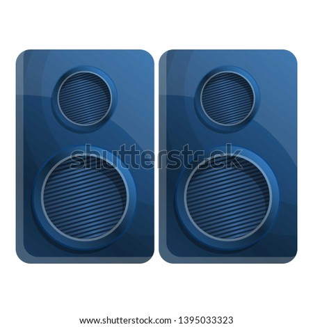 Blue stereo speakers icon. Cartoon of blue stereo speakers icon for web design isolated on white background