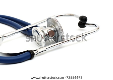 blue stethoscope isolated on a white background