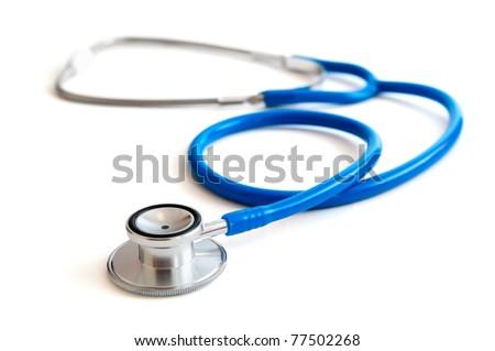 Blue stethoscope isolated on white
