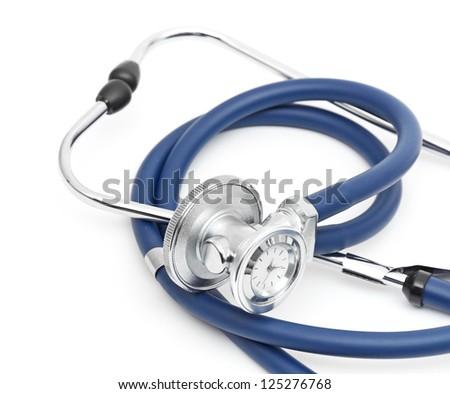 Blue stethoscope isolated on white background