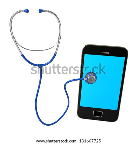 Blue stethoscope with smartphone on the white background. - stock photo