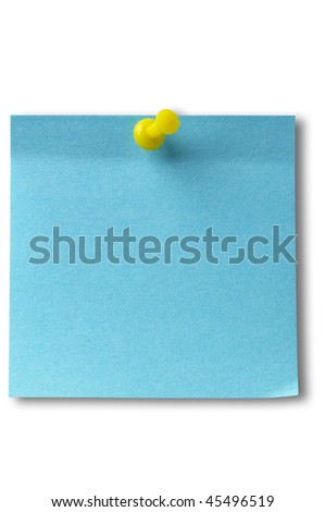 Blue sticker note with yellow pushpin isolated over white background (clipping path isolation)