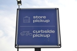Blue Store Pickup Curbside Pickup Signage Outdoors