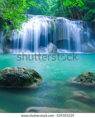 Blue stream waterfall in Kanjanaburi Thailand #109303229