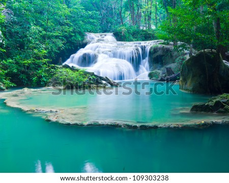 Blue stream waterfall in Kanjanaburi Thailand