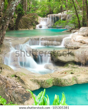 Blue stream waterfall in Kanjanaburi Thailand (Erawan National Park)
