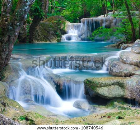 Blue stream waterfall in Kanjanaburi Thailand (Erawan waterfall Nation Park) #108740546
