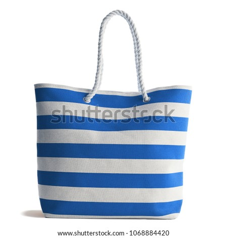 Blue Stripe Beach Bag  isolated on white background