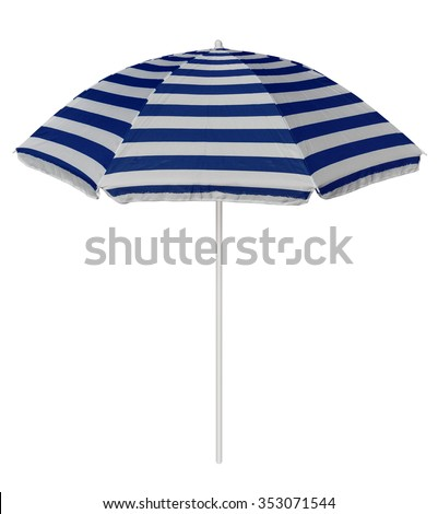 Blue striped beach umbrella isolated on white. Clipping path included. #353071544