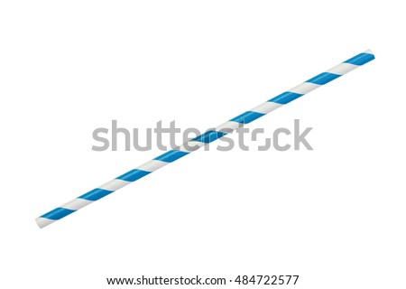 blue striped eco paper straw isolated on white #484722577