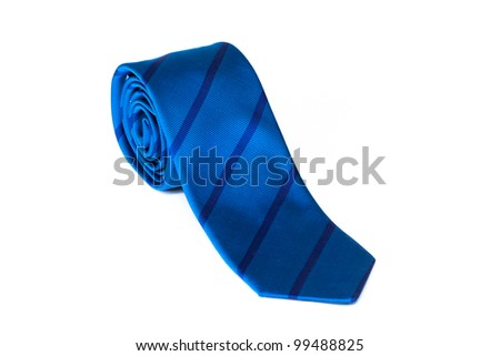 Blue striped male tie  rolled and isolated on white