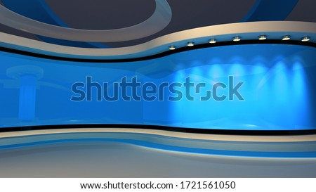 Blue Studio. Blue back drop. News studio. The perfect backdrop for any green screen or chroma key video or photo production. Breaking news. 3d rendering.  Stock photo ©