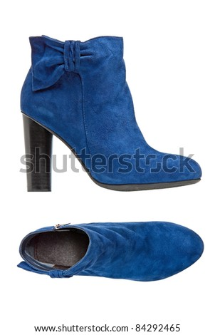 Blue suede female boot, side and top views over white. With clipping path.