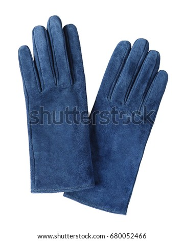 Blue suede leather  gloves isolated on white