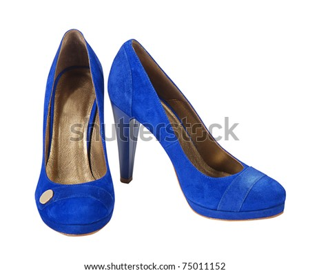blue suede shoes isolated with clipping paths