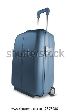 Blue suitcase isolated on white background