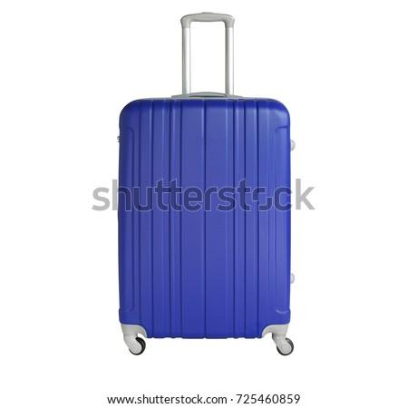Blue suitcase isolated on white background. Polycarbonate suitcase isolated on white. Blue suitcase.