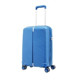 Blue Suitcase Isolated on White Background. Roll Along Case. Side View of Blue Trolley Hand Luggage Bag. Vip Trolley Bag. Trolley Travel Bag. Carry on Spinner Trunk. Wheeled Luggage. Cabin Baggage