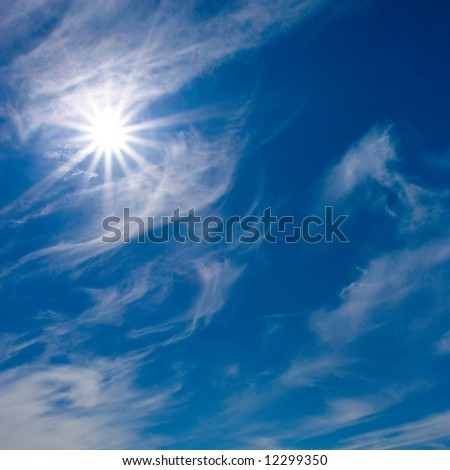 day sky. stock photo : Blue summer day sky with wite clouds