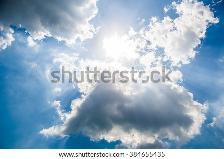 blue summer sky and white clouds. Partly cloudy. The sun. The summer sky