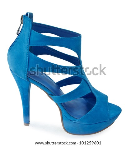 Blue summer woman Shoe  isolated in white background