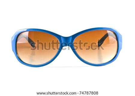 Blue sunglasses isolated on white