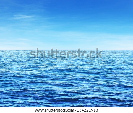 Blue sunny sea water surface