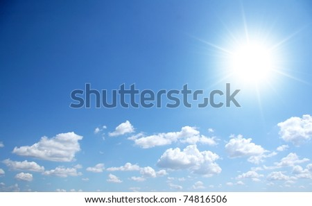 Blue sunny sky with small clouds