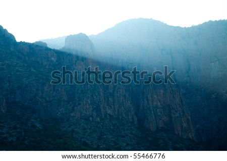 blue sunset in the Chisos Mountains