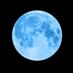 Blue super moon isolated on black background