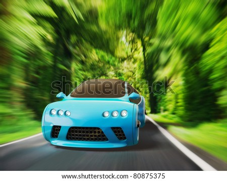 blue supercar with a red radiator grille on a dark background