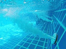 Blue Swimming Pool.Spa corner in the pool.Outdoor Swimming Pool.Swimming pool system.