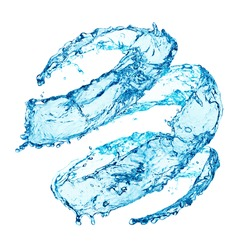 Blue swirling water splash isolated on white background