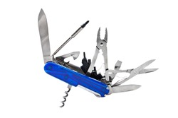 Blue Swiss Penknife on a white background