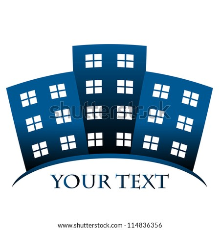 Blue symbol of buildings and space for your text