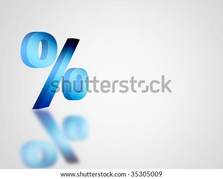Blue symbol of percentage over white background