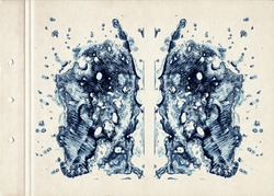Blue symmetric watercolor spots. Abstract watercolor painting on old paper. Smudged Textured Background. Freehand Drawing. Vintage style.
