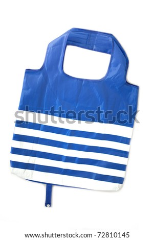 Blue synthetic fabric bag with white strips isolated on white background.