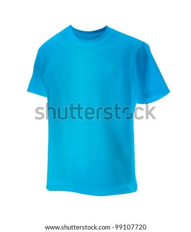 blue T-shirt isolated on white background - stock photo