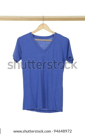 blue t shirt on cloth wooden hangers in row