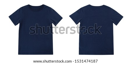 Blue T-shirts front and back on white background, Navy T-shirts