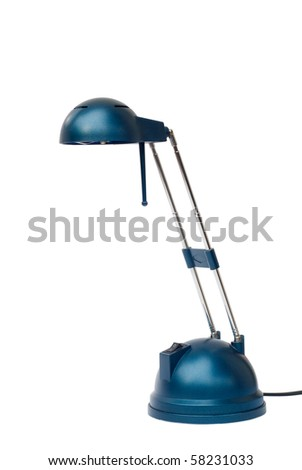 Blue table-lamp. Isolated on white background.