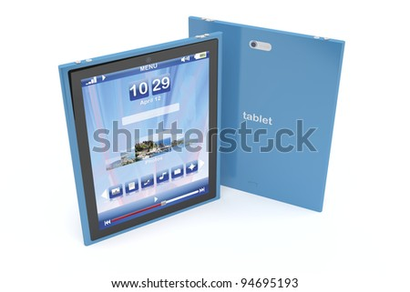 Blue tablet computers on white background