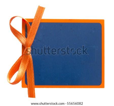 blue tag with orange ribbon