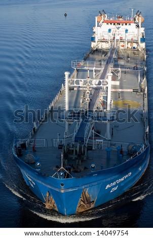 Blue tanker on the river