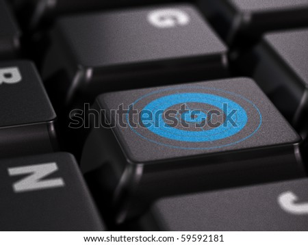 blue target on a black keyboard